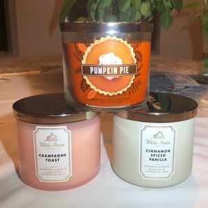 ❤️Lot of Three Bath & Body 3-wick Scented Candles